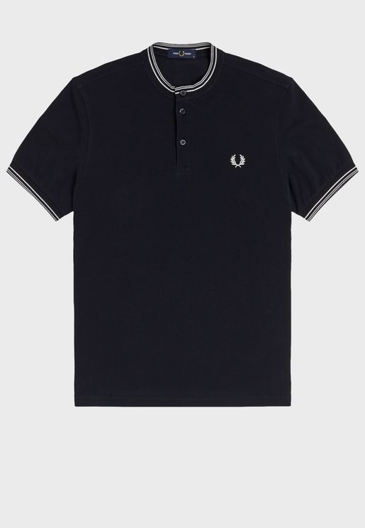 Stripe Henley Polo Shirt