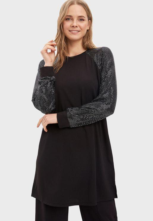 Printed Sleeves Tunic Top