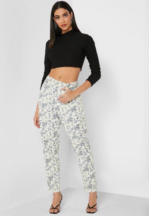 Floral Printed Jeans