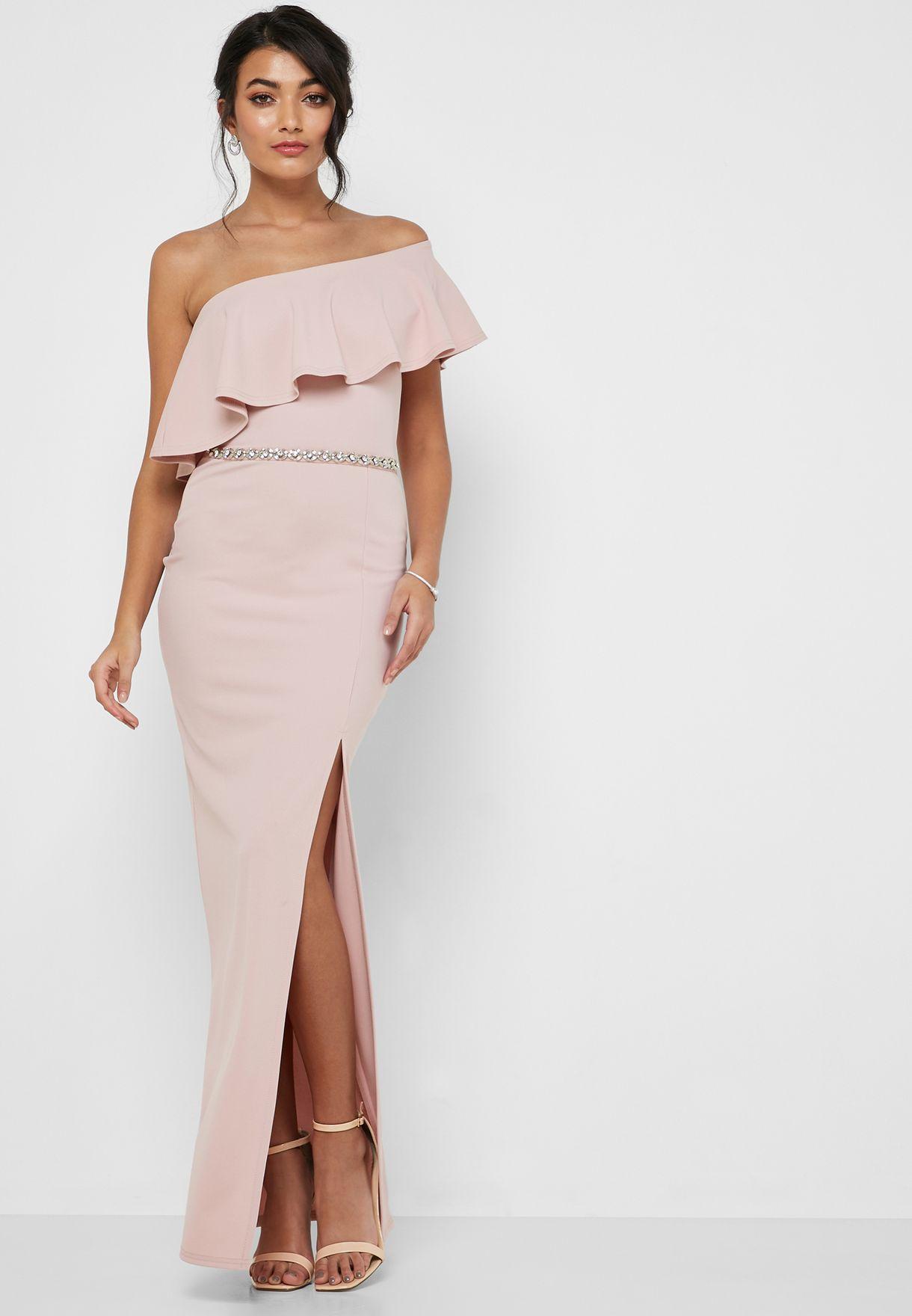 Asymmetric Side Split Asymmetric Neck Maxi Dress