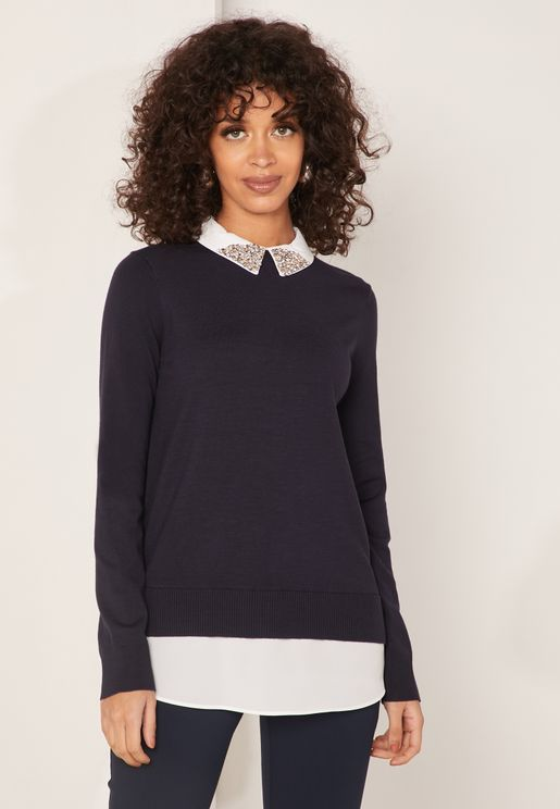 Liaylo Contrast Trim 2 In 1 Sweater