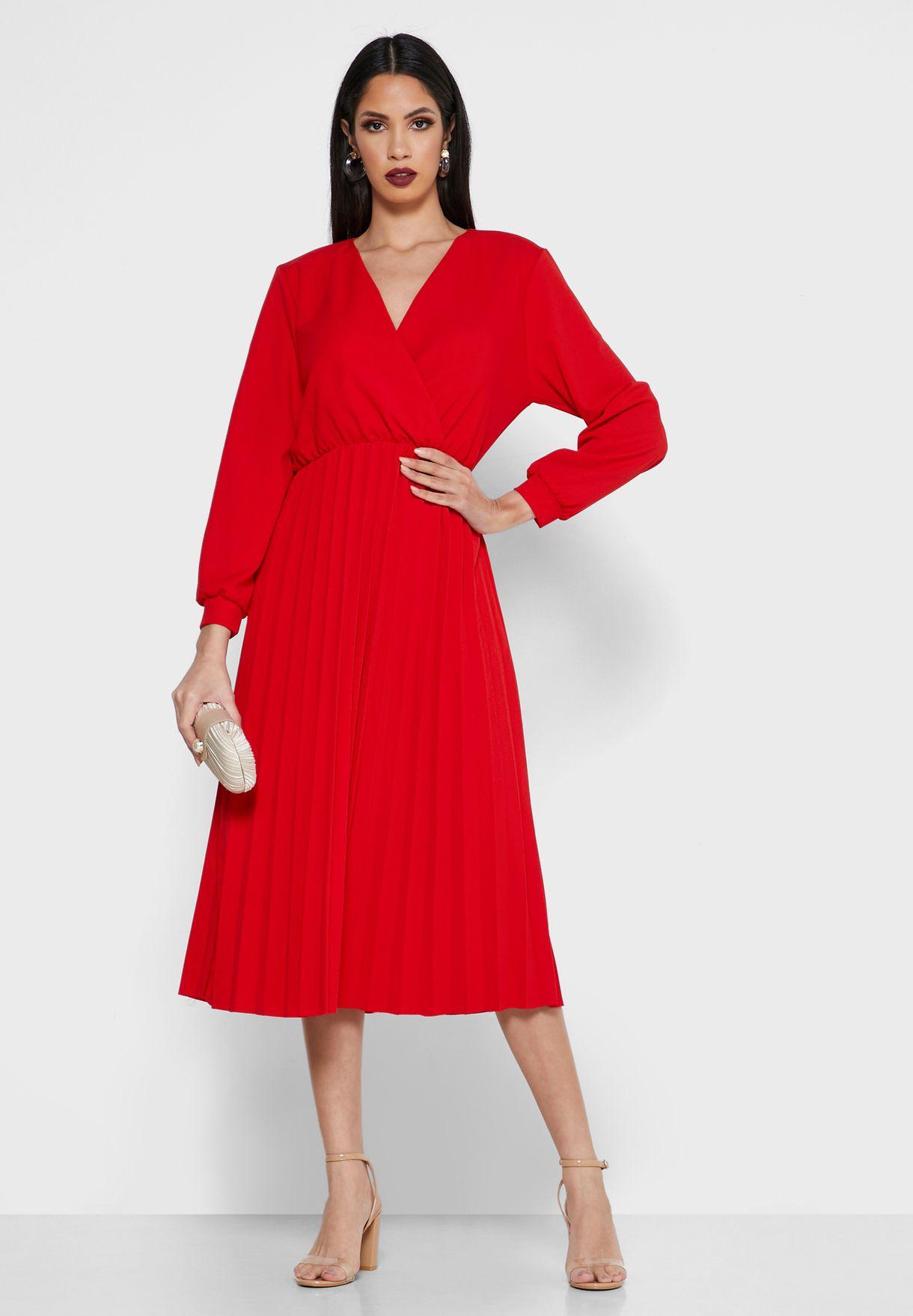 Wrap Front Pleated Skirt Midi Dress