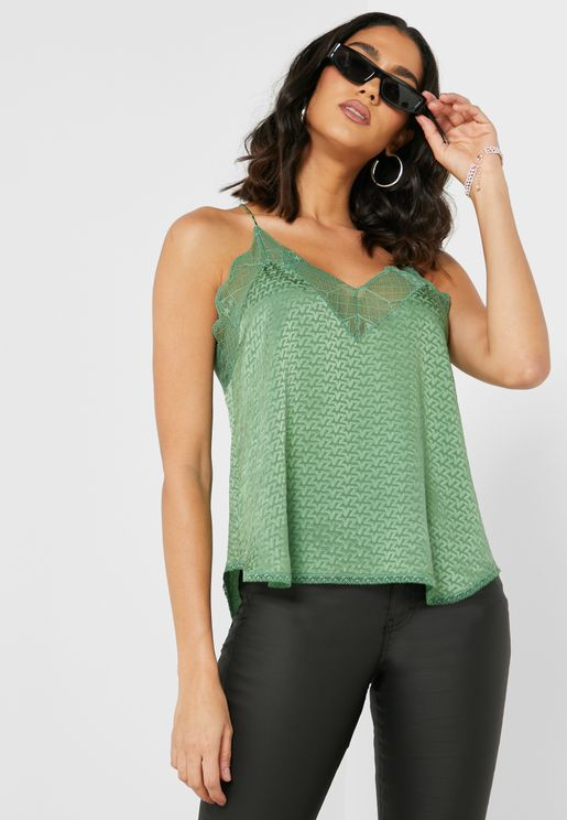 Christy Lace Trim Textured Cami Top