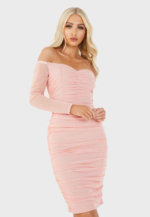 Mesh Bardot Ruched Midi Dress