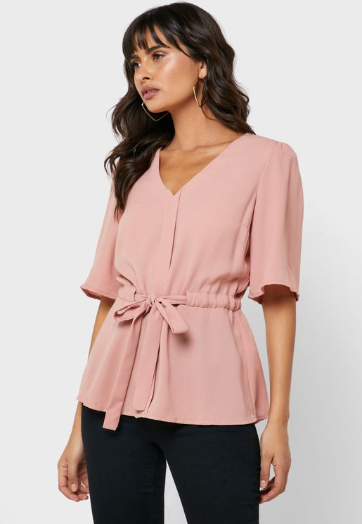 Tie Waist V-Neck Top
