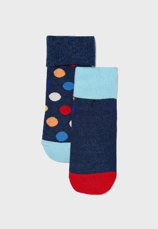 Kids 2 Pack Big Dot Anti Slip Socks
