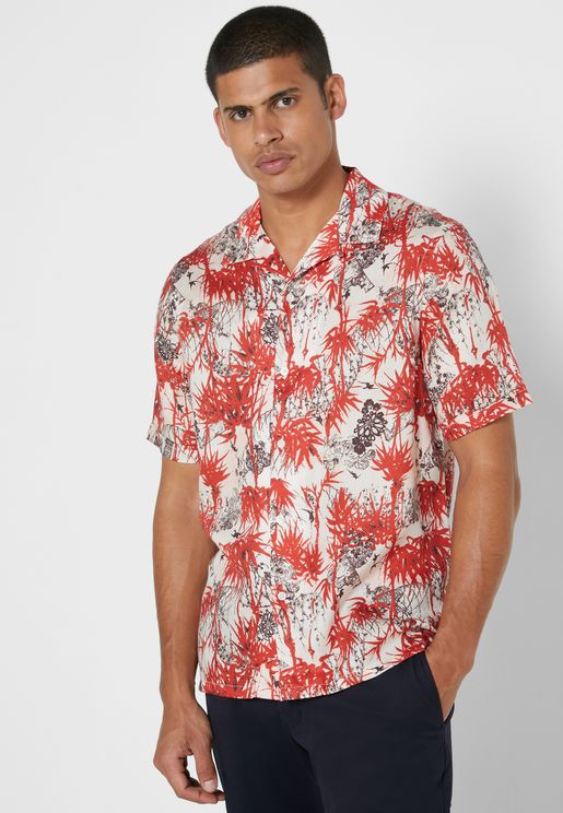 Palm Tree Print Regular Fit Shirt