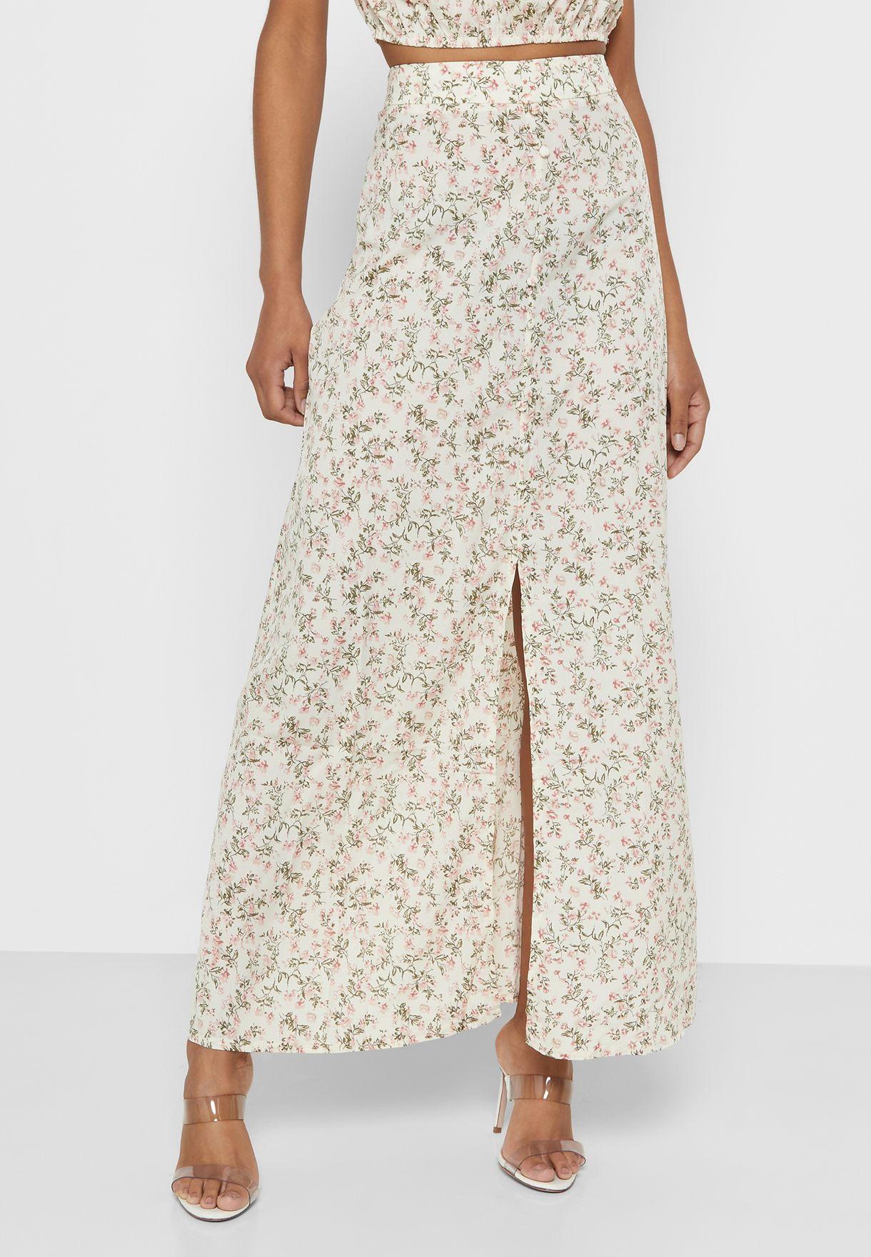 Floral Print Bardot Maxi Skirt Set
