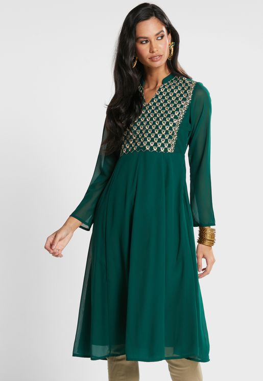 Green Embroidered Yoke Anarkali Tunic