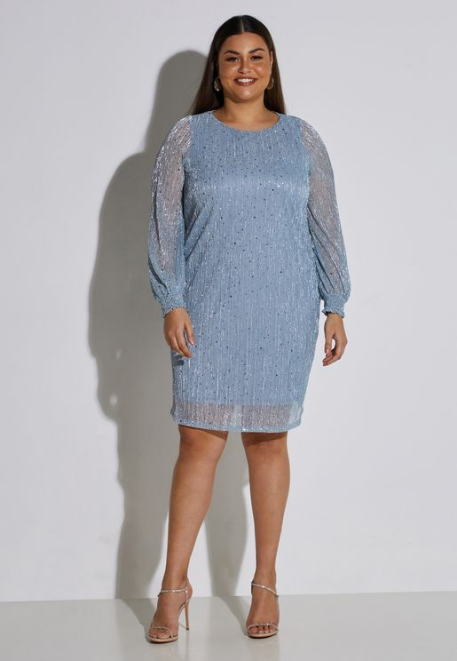 Round Neck Overlay Dress