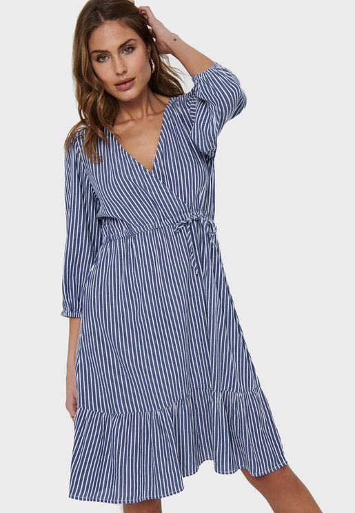 V-Neck Stripe Tiered Midi Dress