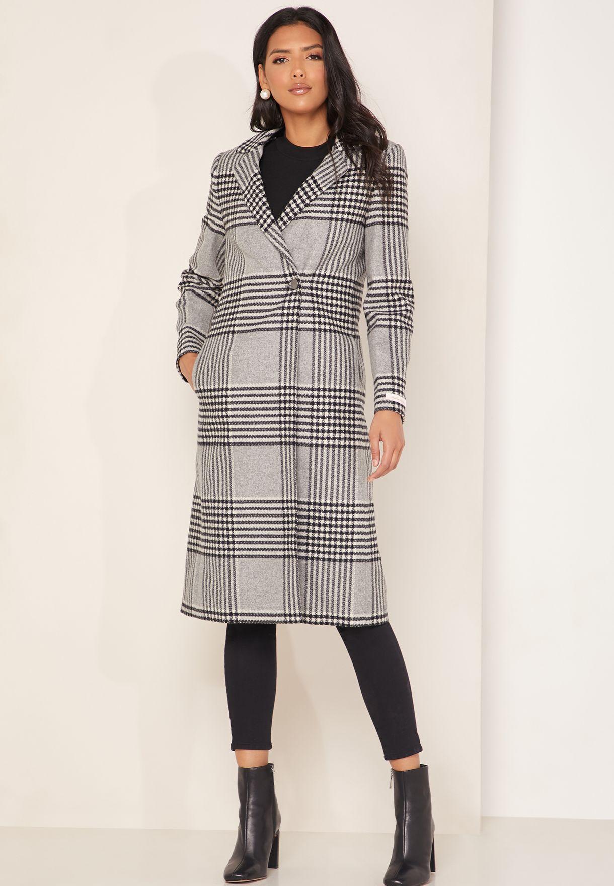 Celinna Longline Checked Coat