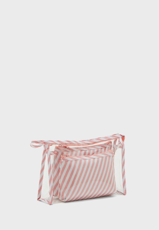 Set of 3 Striped Cosmetic Bag
