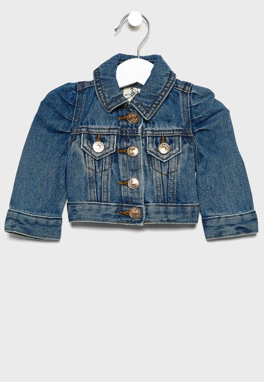 Infant Puff Sleeve Denim Jacket