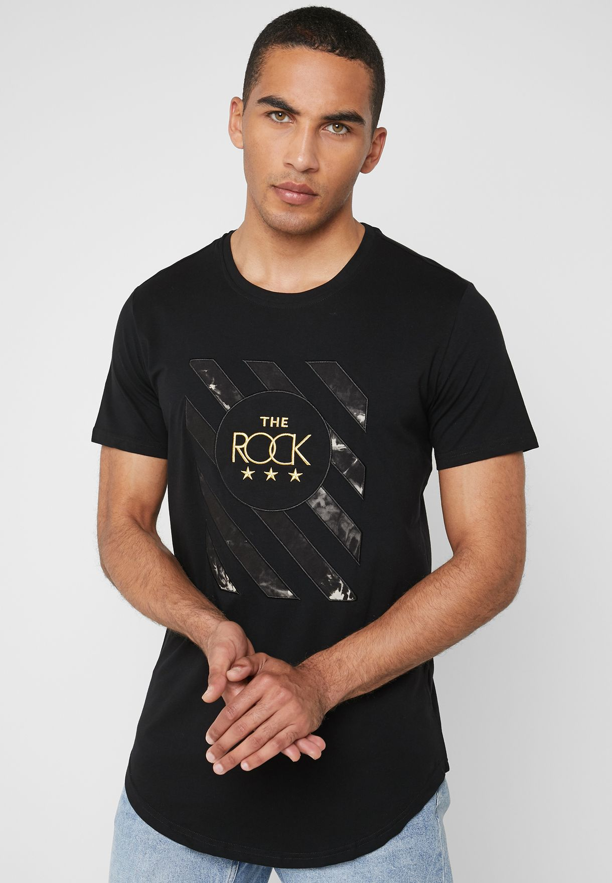 Rock Print Crew Neck T-Shirt