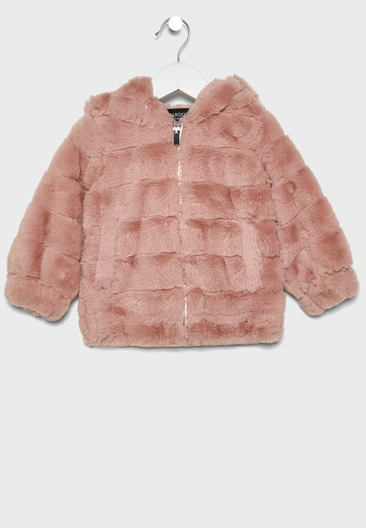 Infant Stripe Fur Jacket