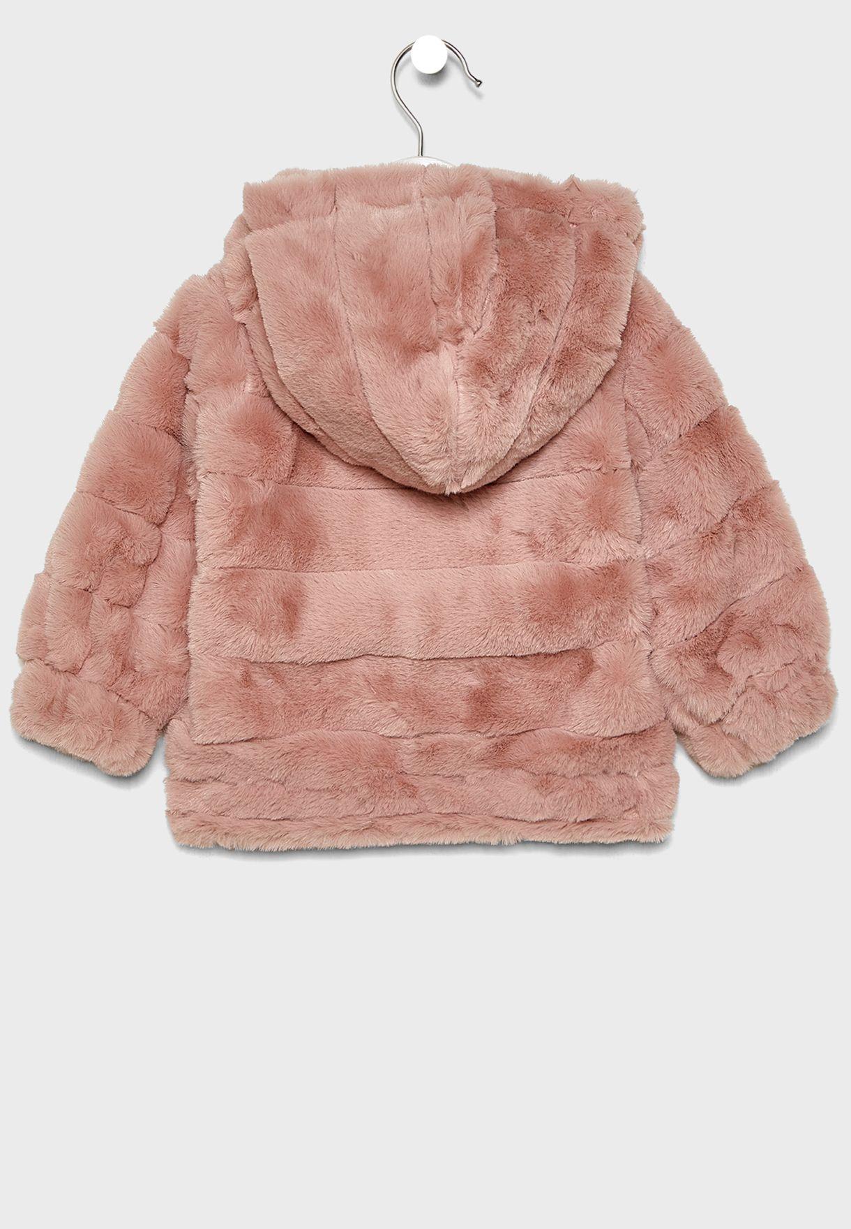 Infant Stripe Fur Jacket