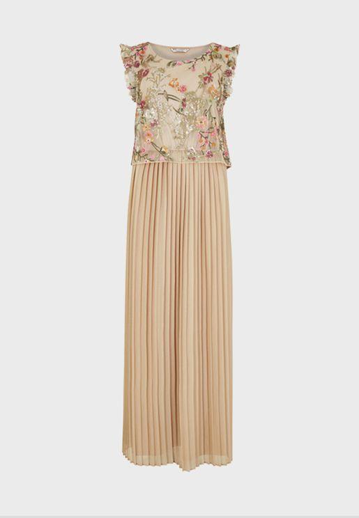 فستان بليسيه بطبعات ازهار