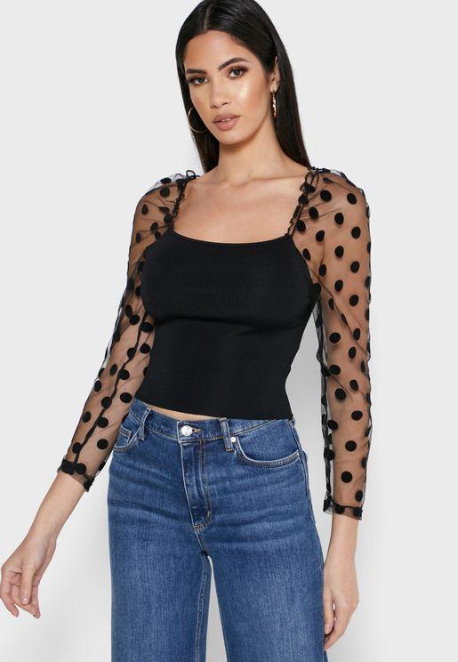 Sheer Polka Dot Sleeve Top