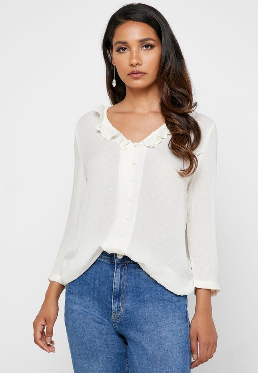 Ruffle Neck Button Down Top