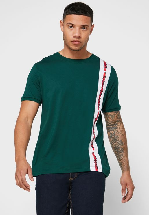 Logo Stripe Crew Neck T-Shirt