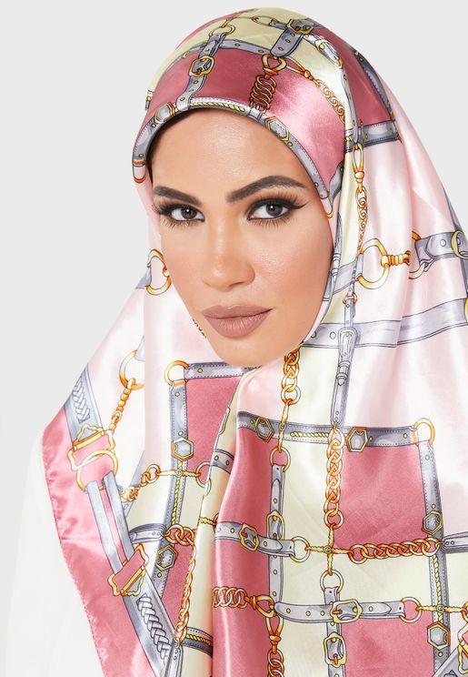 Printed Satin Square Headscarf