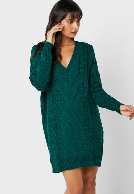 V-Neck Cable Knit Sweat Dress