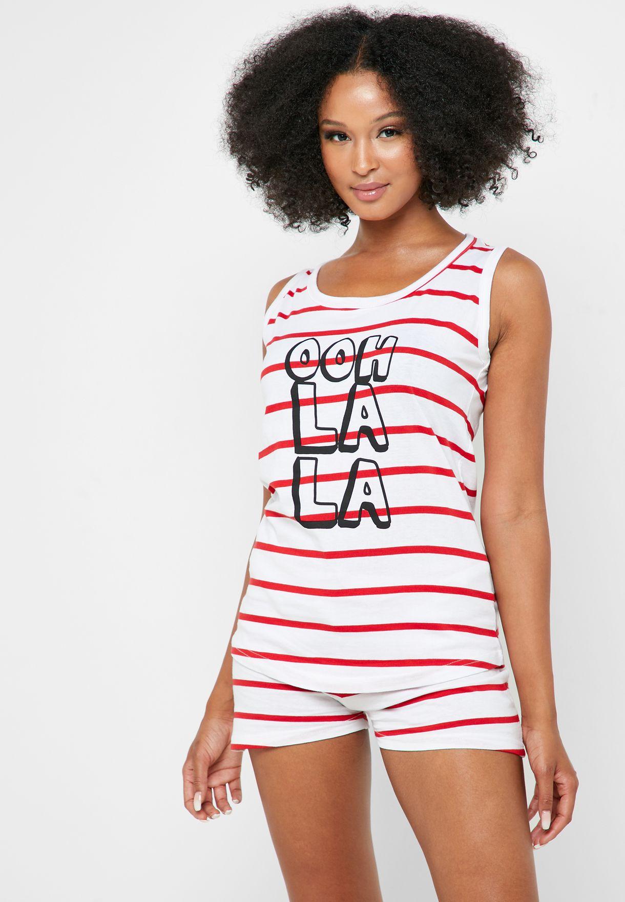 Striped Slogan Pyjama Shorts Set