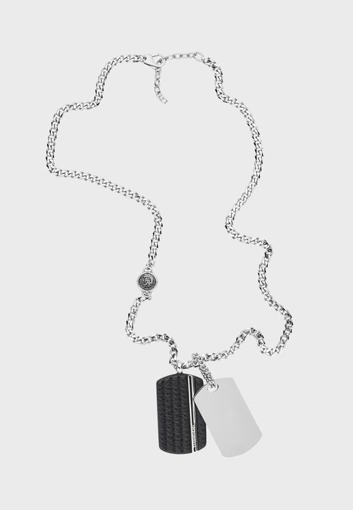 Double Dog Tag Pendant Necklace