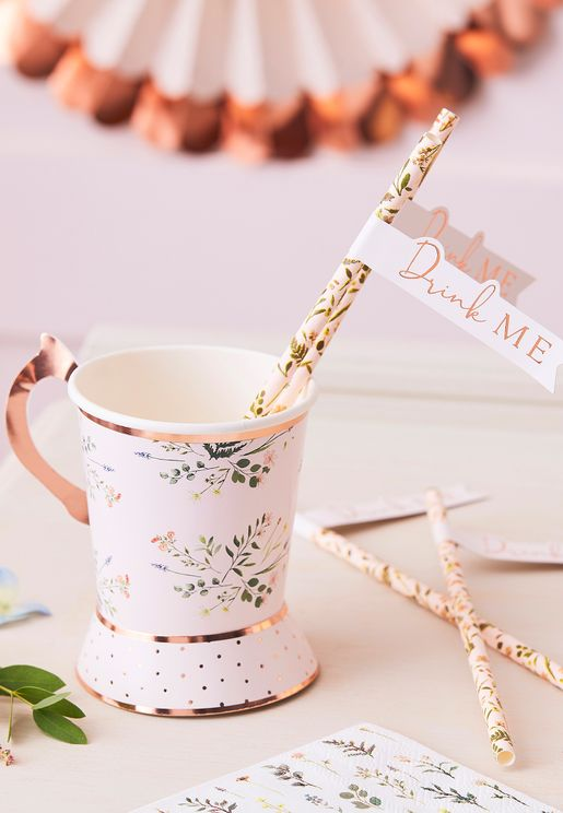 Tea Party Floral Straw