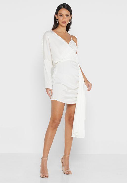 White Asymmetric Satin Drape Mini Dress