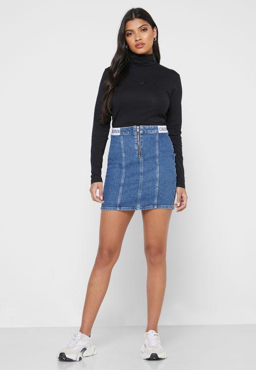 تنورة جينز بسحاب