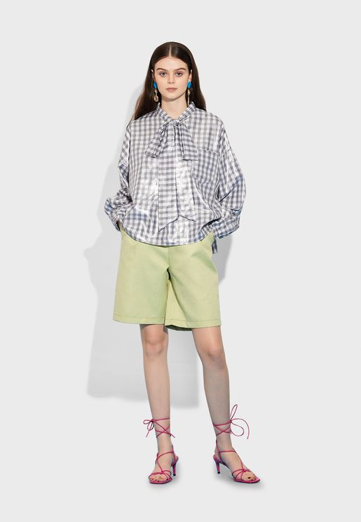 Tie Neck Oversized Checked Shirt