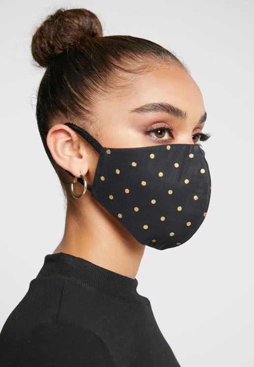 Gold Polka Dot Linen Mask