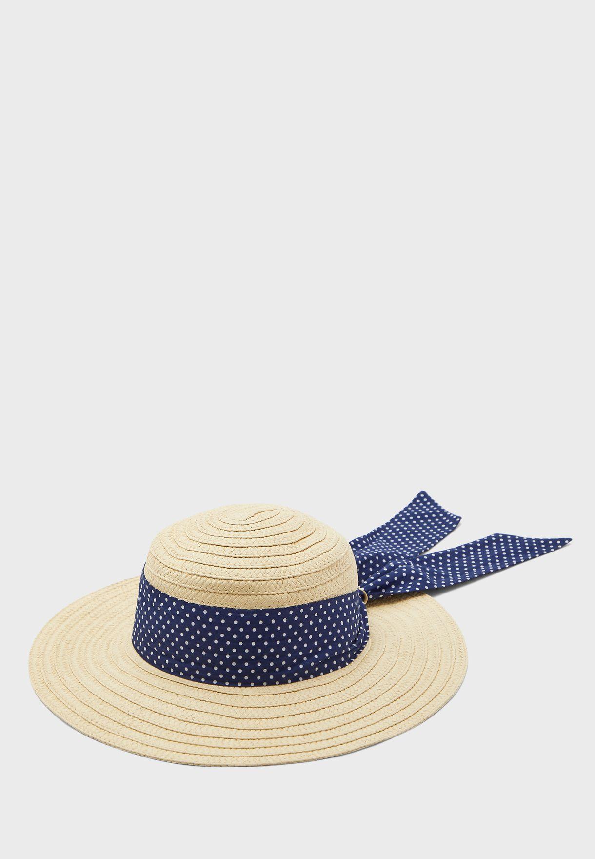 Polka Dot Trim Sun Hat