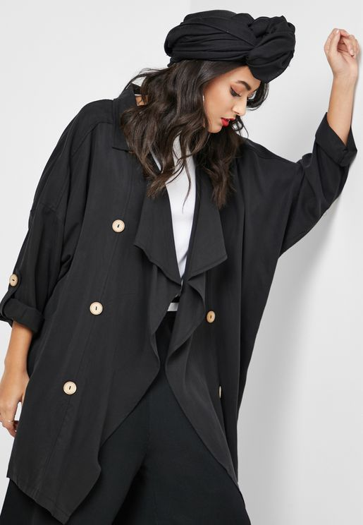 Button Detail Waterfall Jacket
