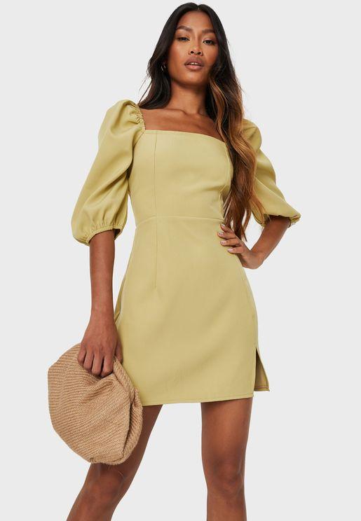 Square Neck Balloon Sleeve Mini Dress