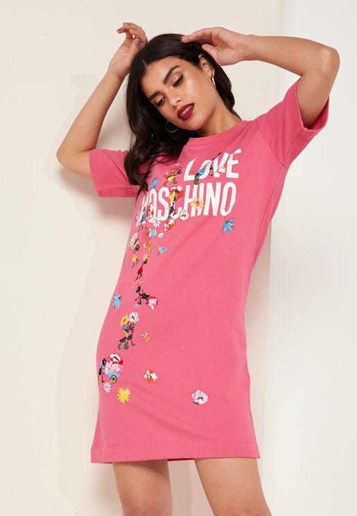 Printed Logo T-Shirt Dress