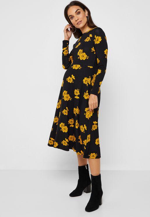 Floral Print V-Neck Skater Dress