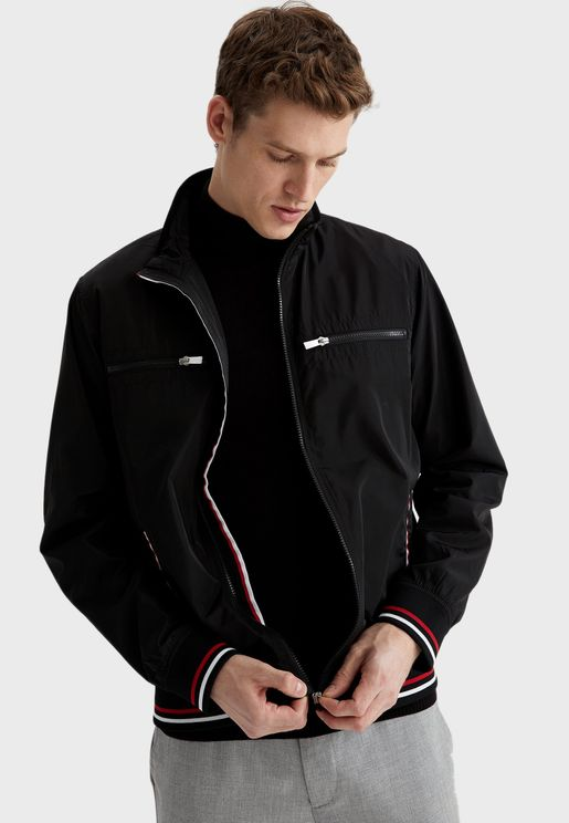 Tipped Zip Detail Pocket Jacket
