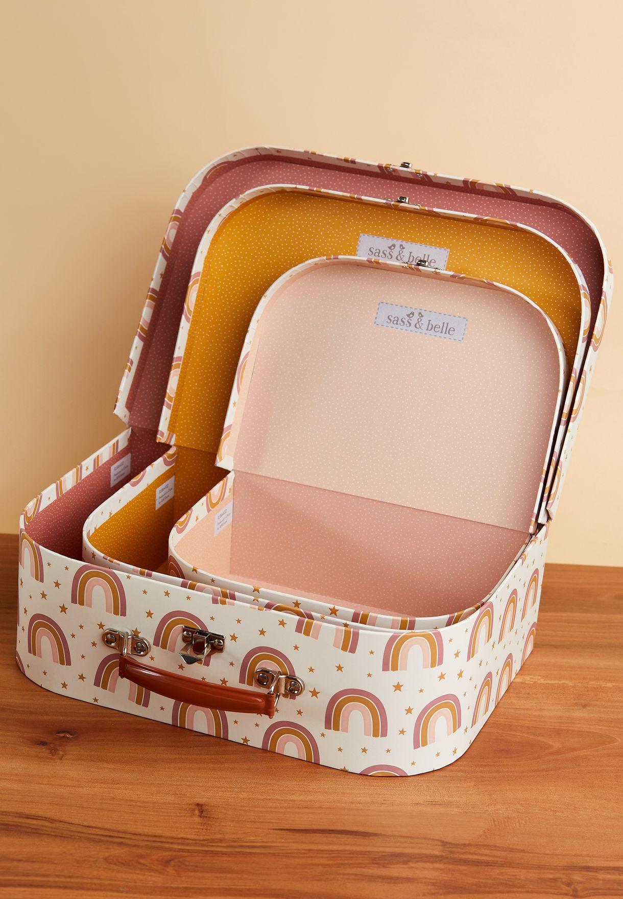 Set Of 3 Rainbow Suitcases