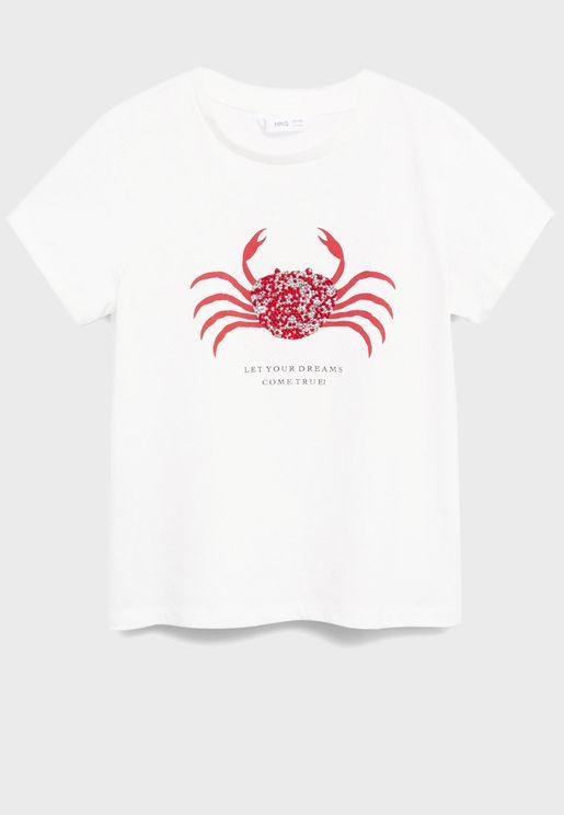 Kids Crab Print T-Shirt