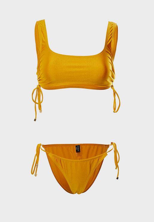 Tie Side Square Neck Bikini Set