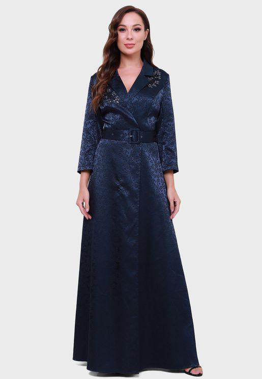 Jacquard Belted Dress