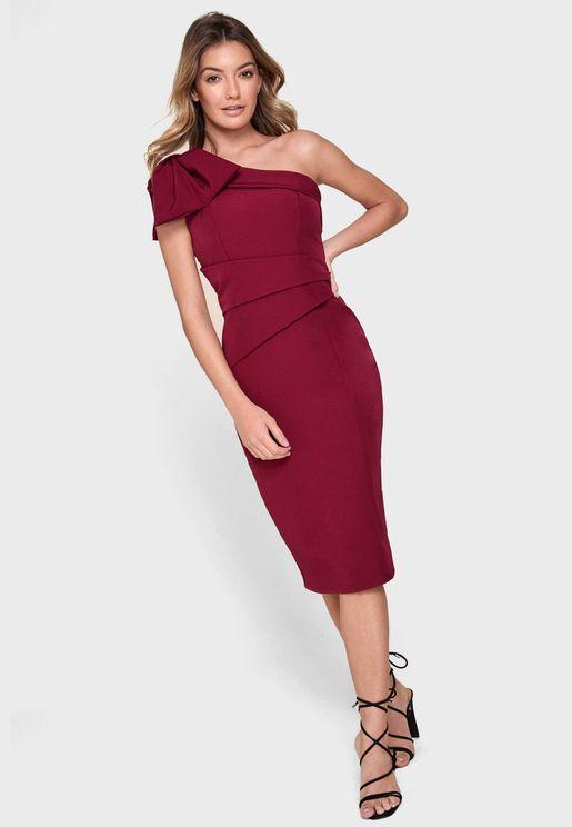 Bow Detail One Shoulder Dress