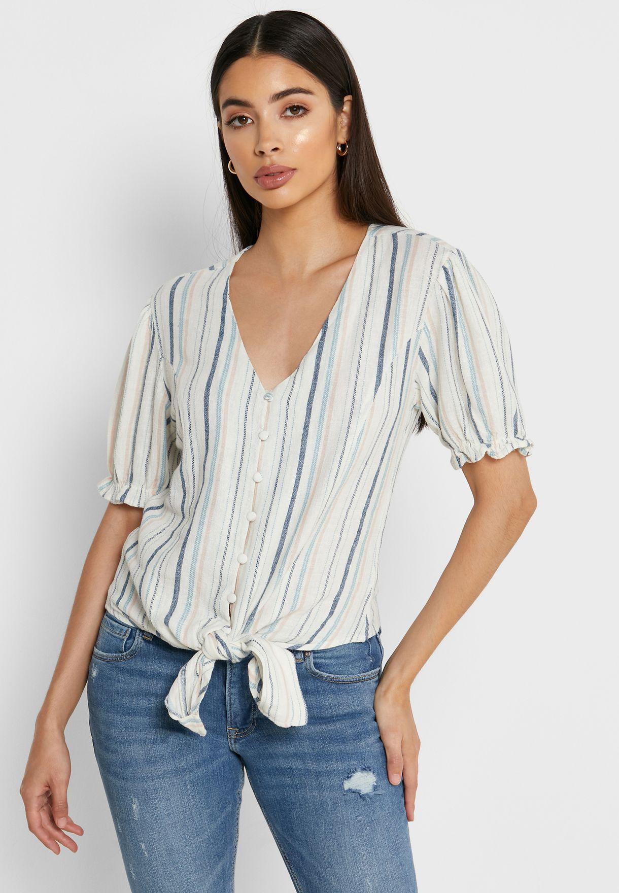 Knot Detail Puff Sleeve Shirt