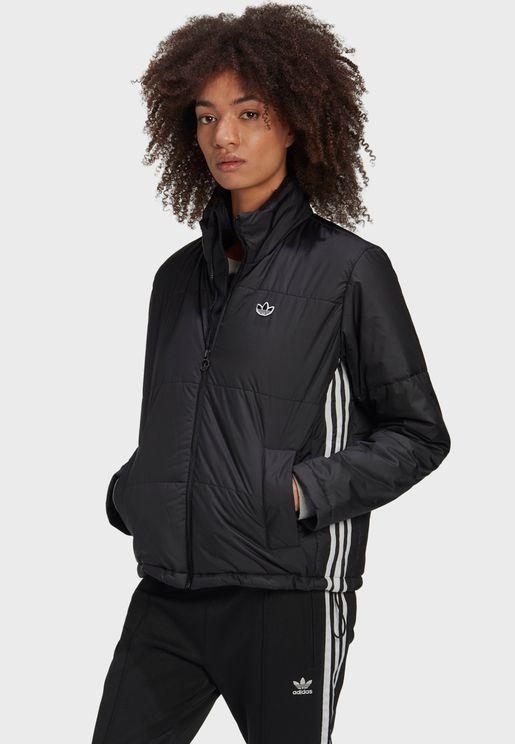 3 Stripe Cropped Puffer Jacket