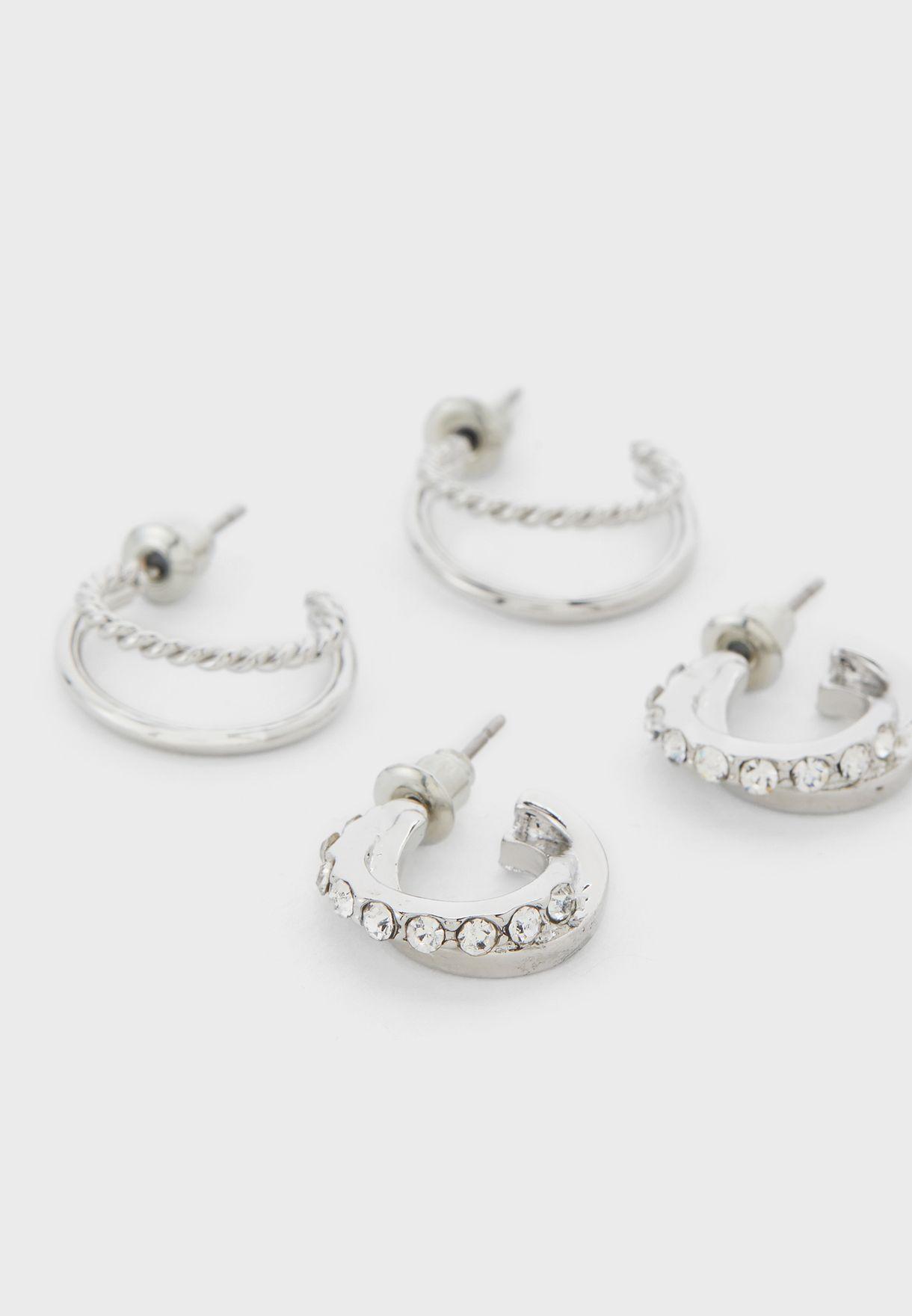 Pack Of 8 Stud And Hoop Earrings