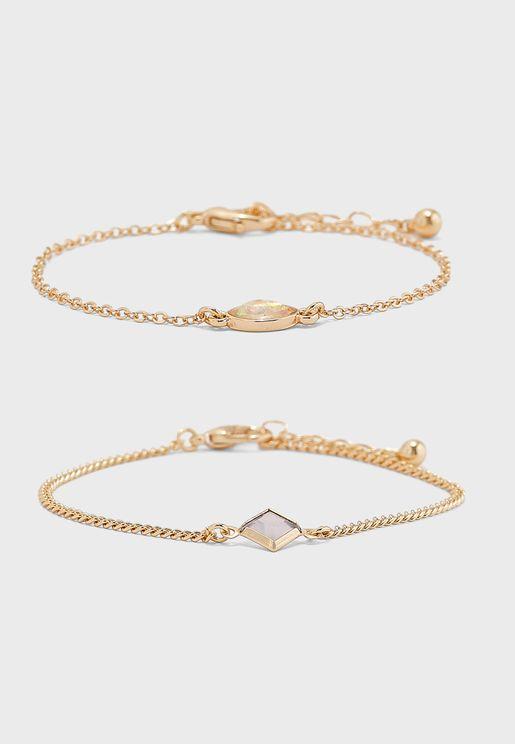 Multipack Stone Detail Bracelet