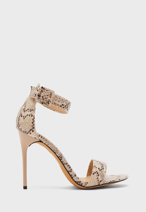 Snake Effect Ankle Strap Stiletto